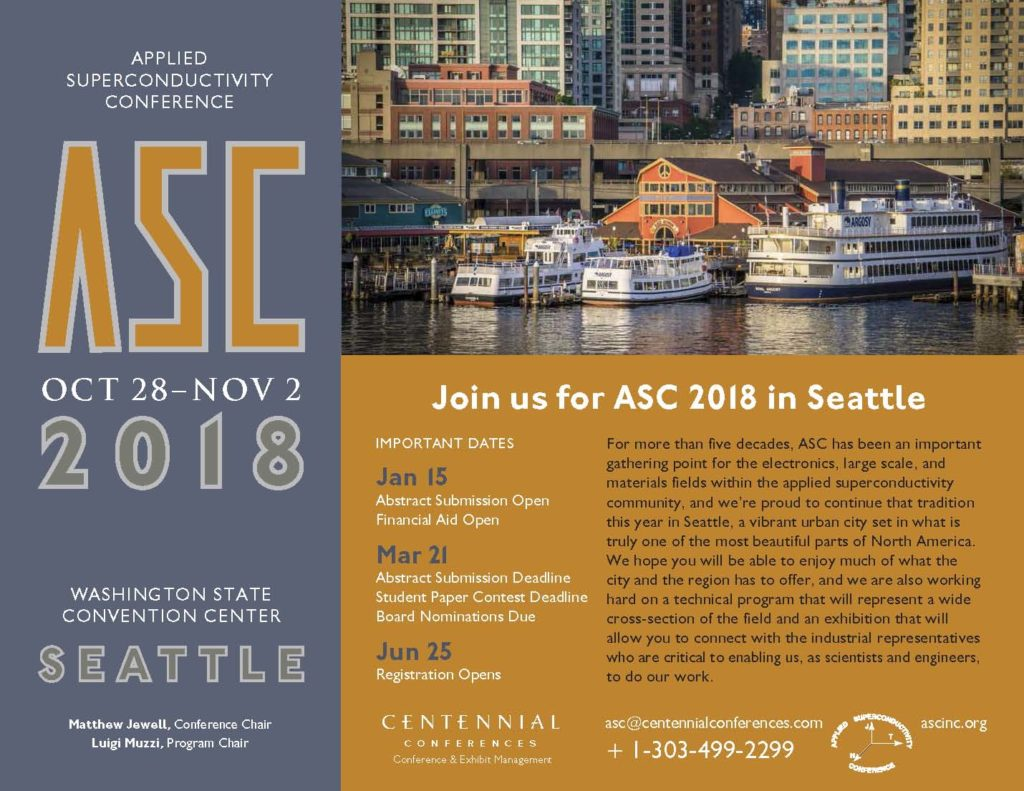 Scientific Instruments at Applied Superconductivity Conference (ASC) 2018
